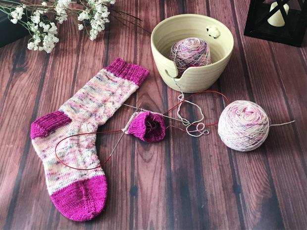 my cup of tea socks twigs and twine yarn by the handmaker's bag